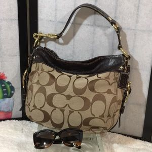 Coach large sig fabric satchel